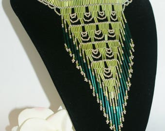 Handmade Beaded Native American Style Bib Necklace Choker Pink Lavender Green