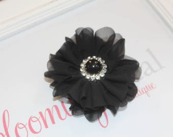 Black Large Chiffon Flower Clip with Pearl Button