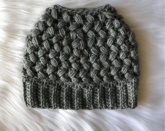 Messy Bun Beanie / Messy Bun Hat / Ponytail Hat / Ponytail Beanie / Mom Bun Beanie / Winter Hat / Child Size / Adult Size / MADE TO ORDER