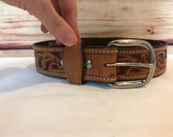 Vintage handmade hand tooled leather western belt
