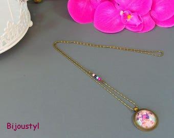 Necklace cabochon fancy * Floralys * Cabochon 25 mm * fuchsia, purple, pink pattern