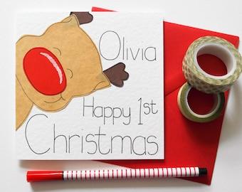Personalised Reindeer First Christmas Card, Baby's First Christmas Card, Cute Reindeer 1st Christmas Card,Personalized Baby's Christmas Card