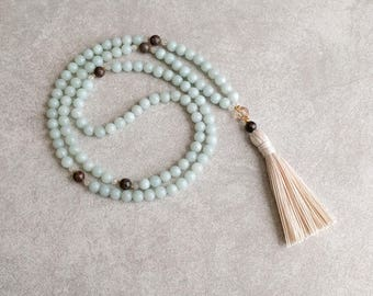 Amazonite 108 Mala Necklace - Creativity & Patience - Meditation Beads - Yoga Mala Beads - Item # 801
