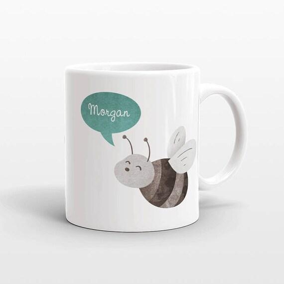 Custom Name Mug, Honey Bee Mug, Personalized Mug, Unique Coffee Mug, Office Mug, Best Friend Gift, Birthday Gift, Cute Animal Lover Gift