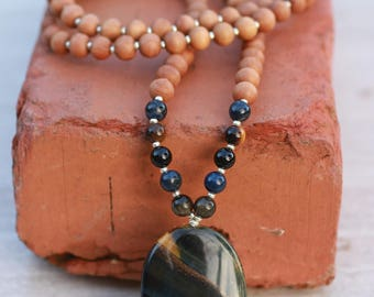 Blue Golden Tiger's eye Sandalwood Mala  Meditation Inspired Yoga Beads BOHO chic / mala beads