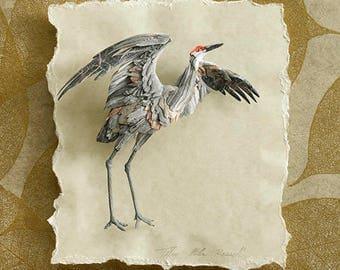 Blank Card - 'Raising Wings' - Sandhill Crane Paper Sculpture, Print