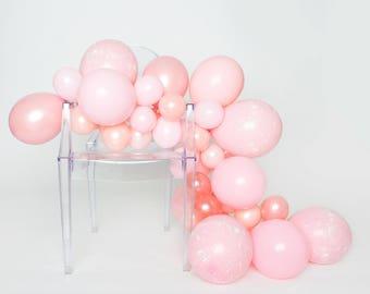 Balloon Garland Kit -Millennial - Pink Splatter Paint Balloon Garland - Millennial Pink Balloons - Dusy Pink, Rose Gold Party Balloons