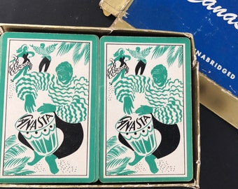 Vintage Playing Cards Canasta Boxed Set Mid Century Carribean Calypso Drummer and Dancers Deck of Cards Arrco Playing Cards 1950s