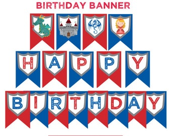 Knight Birthday Party, Medieval Birthday Party, Knight Birthday Banner, Medieval Banner, Printable Banner, Digital files, Instant download