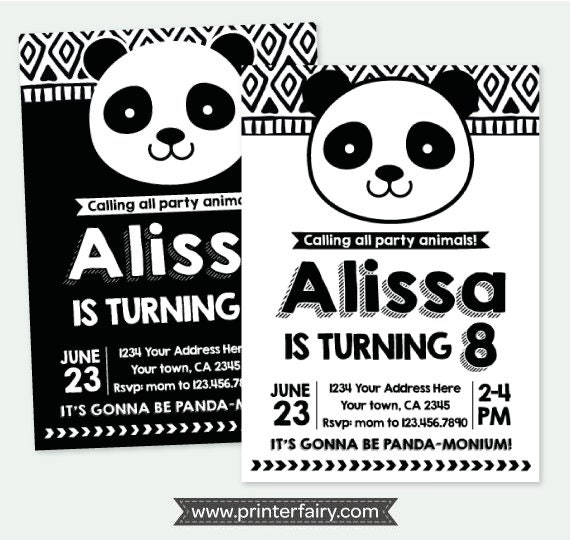 Panda birthday invitation panda invitation black and white il570xn filmwisefo