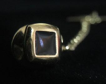 Vintage Square Black Enamel Gold Tone Tie-Tac (JT3)