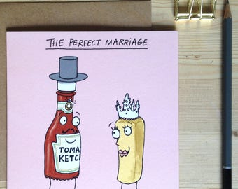 The perfect marriage funny cartoon wedding & engagement card