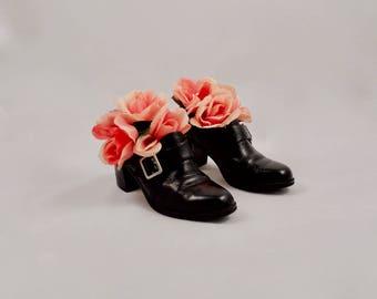 chunky loafer heels / 90s chunky heels / buckled oxfords / 7 -37.5 / pilgrim shoe / black leather booties / black chunky heels