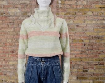70s mint sweater / 70s turtleneck / spring sweater / pastel sweater / ribbed turtleneck / striped sweater / retro sweater / ski sweater