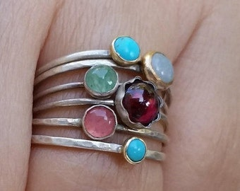 Bezel ring - Stacking Ring - Tiny Turquoise Silver Ring - Tiny Ring - Small Ring - Birthstone Stacking Ring - Customizable Set Delicate Ring