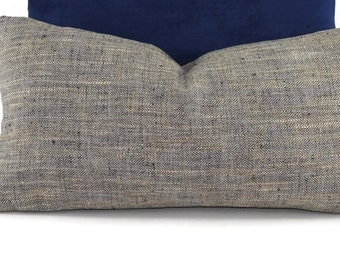 Navy, Tan, & Off White Woven Herringbone Throw Pillow Cover, 10x20
