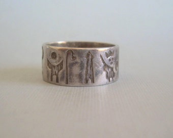 History Of Ireland Band Ring Size 9-Vintage Sterling Silver-Collectible Dublin Ireland 'JMH' Hallmark-Mens Womens Irish Celtic Jewelry-00770