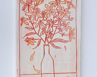 Poplar / Relief/ Carving/ Flowers/ Painting/ Drawing