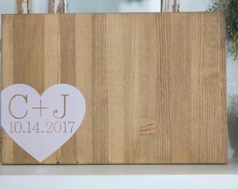 Wood Wedding Guest Book Alternative with Wrap-Around Heart (Initials)