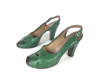 1940s shoes 40s shoes green shoes 1940s heels 40s heels green heels green pumps vintage 1940s shoes, vintage 40s shoes, women's shoes
