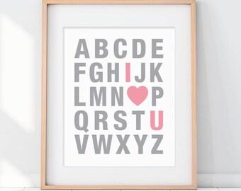 Pink Nursery Decor, Pink Art, Pink Alphabet Art, Alphabet Nursery Art, Love Art, I Love You Art, Nursery Decor, Nursery Wall Art, Pink Art