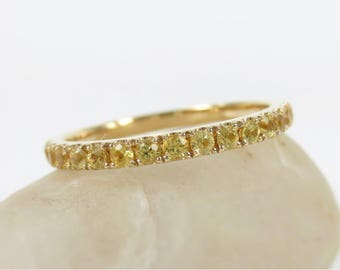 2mm Yellow Sapphires Eternity Band - 18k Yellow Gold - Wedding band - Stacking Band