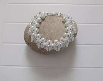 White Pearl and Crystal Rhinestone Sew-on Montee Bracelet