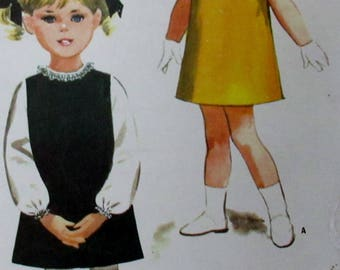Vintage 1965 Toddler Girls Dress or Jumper and Blouse Sewing Pattern #7860  Size 2