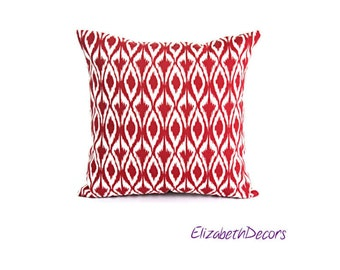 Red and White Outdoor/Indoor Pillow Cover, Decorative Throw Pillow Cover