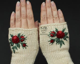 Ivory Fingerless Gloves With Roses, Hand Knitted Gloves With Embroidery, Red Roses, Gloves & Mittens, Gift Ideas, For Her, Gift For Woman