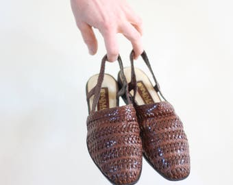 Women's Woven Leather Slip On Sandals Size 8.5