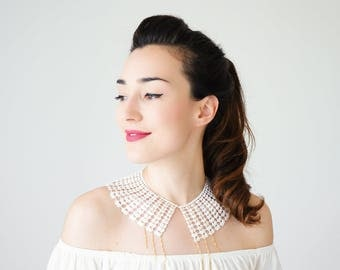 Summer Outdoors Lace Collar White Collar Vintage Collar Statement Necklace Gift For Her Birthday Gift Sister Gift Bridal Collar / VESSINA