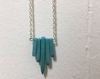 Turquoise Crystal Point Necklace