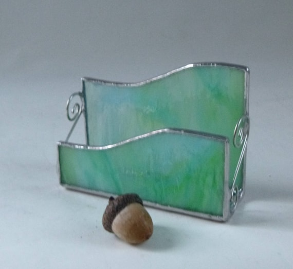 Stained glass business card holder aqua glass blue green like this item colourmoves