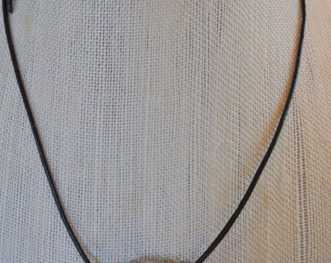 Men's Fossilized Dinosaur Bone Claw Necklace pendant on adjustable brown leather cord simple