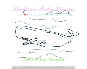 Whale Sailboat Nautical Ocean Scene Vintage Stitch Embroidery Design File for Embroidery Machine Ocean Cute Boy Quick Stitch