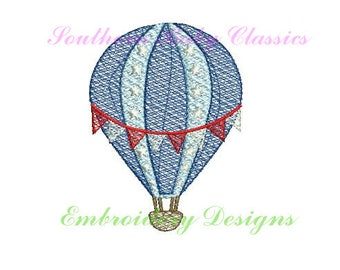 Hot Air Balloon Balloons Clouds Sketchy Light Fill Design File for Embroidery Machine  Instant Download Summer Fourth of July Patriotic