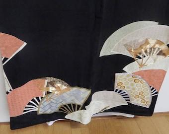 Traditional Tomisode Kimono in Fan Pattern