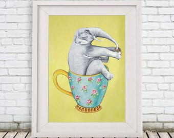 Elephant Print, Tea cup print, Art Poster, Kids Decor Drawing, elephant in cup, jumbo print, gift for elephant lovers, turquoise