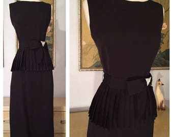1950s Fitted Little Black Dress with Pleated Peplum Details by Warren Petites -- Rhinestone Belt Accent