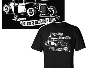 Rat Rod T Shirt / Rockabilly T Shirt / Hot Rod Shirt / Kustom Kulture Shirt / Pin-up Shirt