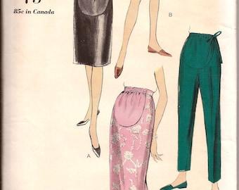 Vintage 1960s Maternity Slim Skirt Pants Shorts Vogue 5970 / Hip 36