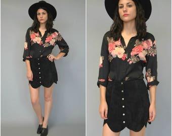 1990s black silk floral blouse - size medium/large