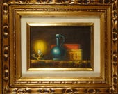 Vintage Oil Painting Still Life Art Original Interior Painting Night Candlelight Candle Books Impressionist Art Framed BLUE VASE Small 5 x 7