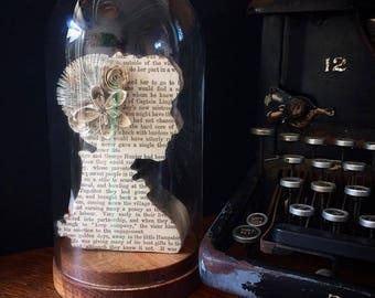 Book Art Wallflower in Glass Cloche