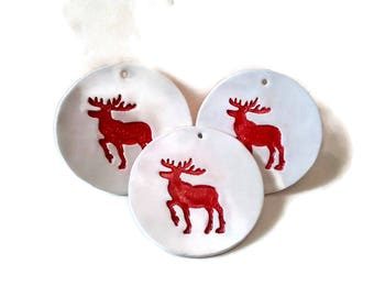 Group of 3 reindeer ornament, Christmas ornaments, reindeer decoration, clay ornament, red reindeer Christmas, ornaments for tree,decor,