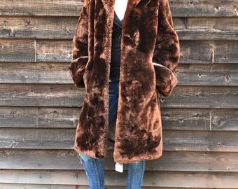 Vintage Oversized Mouton Fur Coat / Jacket