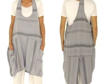 IA200GR ladies carrier tunic striped balloon tunic vintage size 40 42 44 grey