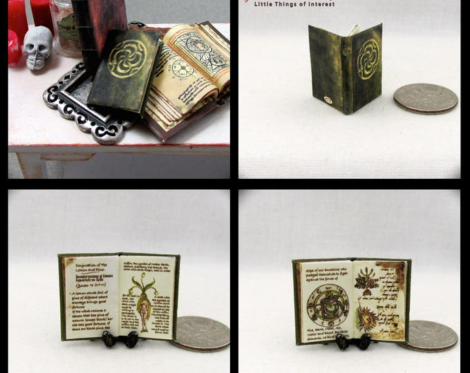 BLAKE BOOK Of SHADOWS Dollhouse Miniature Book 1:12 Scale Magic Spell Book The Secret Circle Attraction Spell Conjuration Lemon Pins Witch
