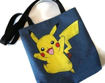 Pikachu Bag • Recycled Tshirt Tote Bag • Pokemon Shoulder Bag